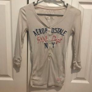 Aeropostale 3/4 Length Sleeve Ribbed Shirt